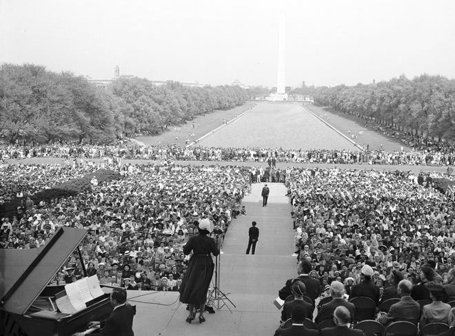 FILE - Marian Anderson performs from the steps of the Lincoln Memorial in Washington on April 20, 1952. Sony Classical, which owns the Victor archive, has put together a digitally remastered 15-CD set that spans her career from 1924 to 1966. (AP Photo/Henry Griffin, File)