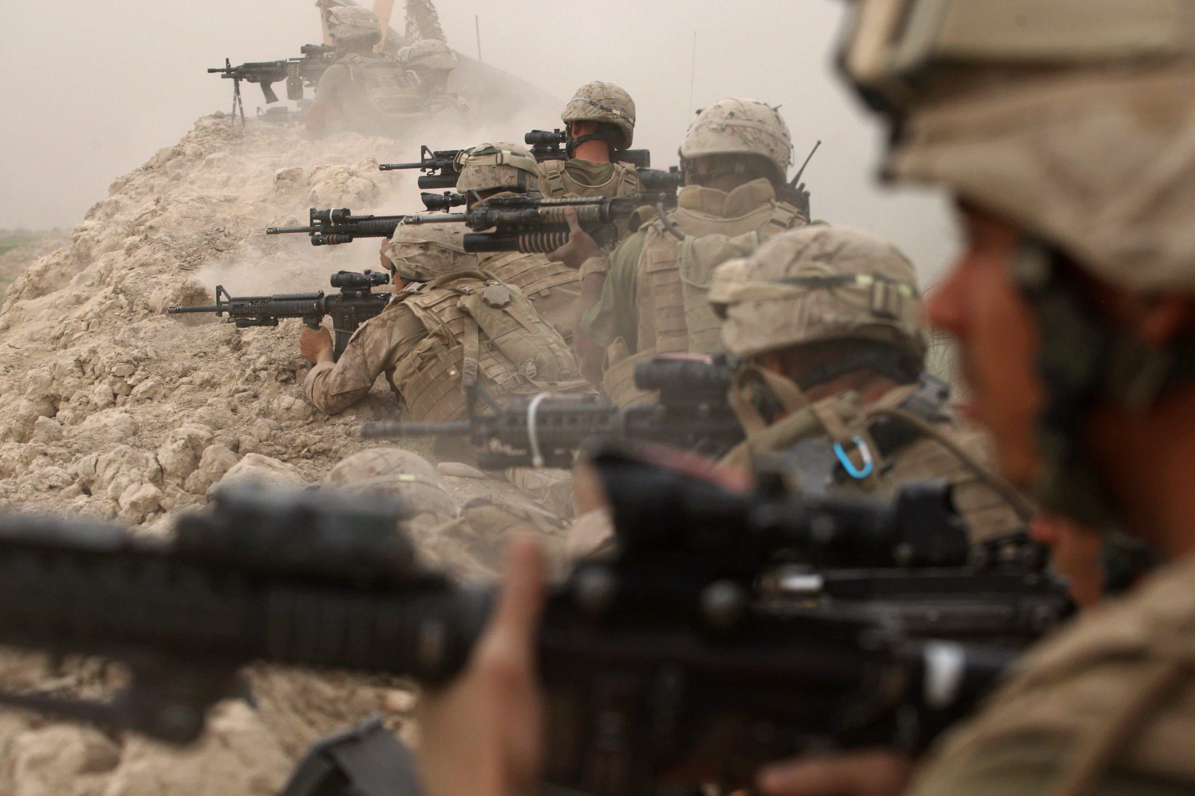 U.S. Marines exchange fire with the Taliban in Afghanistan on May 2, 2008.