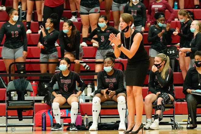 """Weiss head volleyball coach Karen Huffman led her team to six wins in nine matches at the Westwood Invitational this past weekend. Huffman said she """"likes the potential of the team we can be this season."""""""