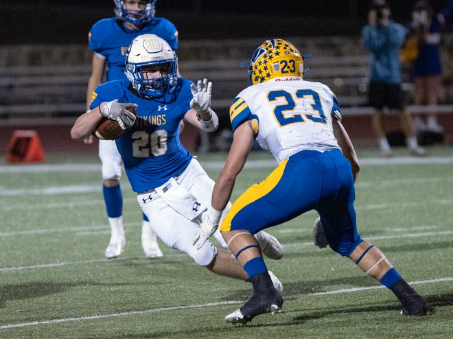 Lago Vista's Logan Parsons, left, tries to elude Blanco's Jackson Cress during the teams' matchup in 2020. The running back returns to power the Vikings' ground game after totaling more than 1,100 yards and 11 touchdowns last season.