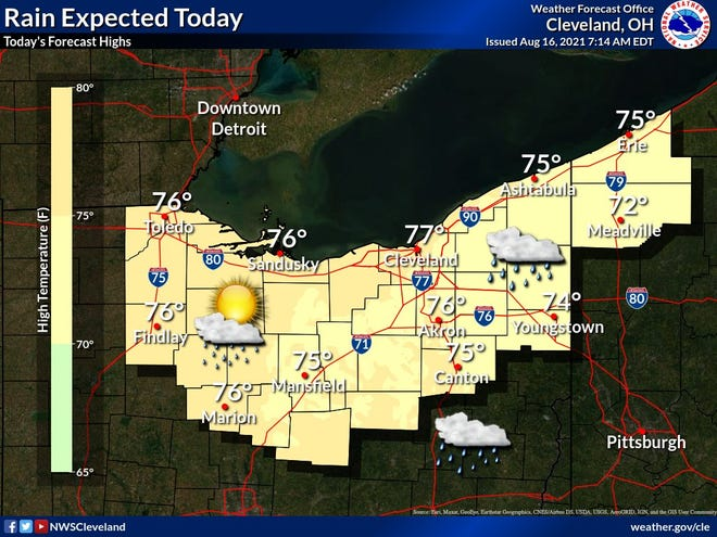 Rain is expected across northern Ohio on Monday and for most of the week.