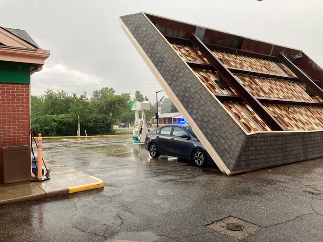 The canopy at the BP gas station, 27 S. Main St., Hudson, fell down during windy conditions early Friday evening, Aug. 13. No one was injured, but the gas station was closed for five days before reopening on Wednesday, Aug. 18.