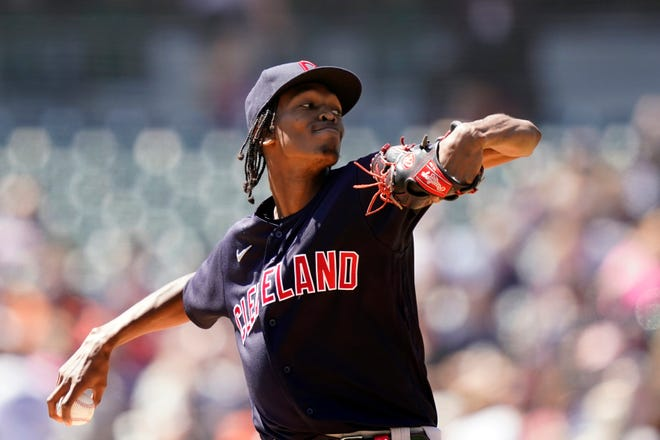 Cleveland starting pitcher Triston McKenzie didn't allow a base runner until there was one out in the eighth inning of an 11-0 win over the Detroit Tigers. [Carlos Osorio/Associated Press]
