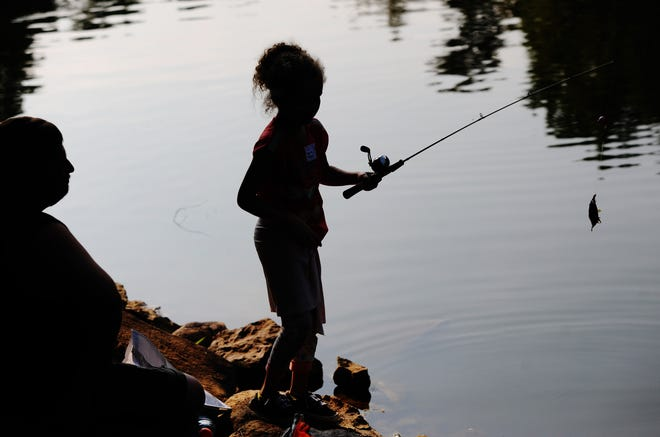 A child fishing in Kidwell Lake at Silver Park is seen in silhouette as she competes in the 2021 Greater Alliance Carnation Festival Fishing Derby on Sunday, Aug. 8, 2021.