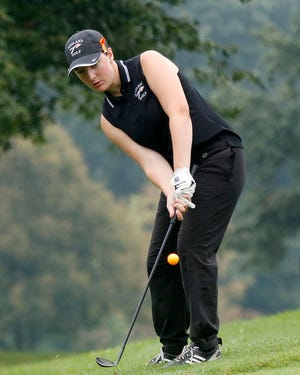 Ashland High School's Lydia Wells chips onto the green during the George Valentine Invitational at Brookside Golf Course on Monday, Aug. 16, 2021. TOM E. PUSKAR/TIMES-GAZETTE.COM