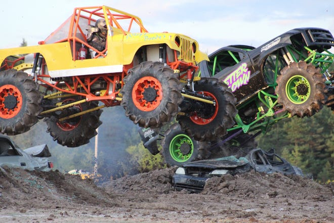 Cheboygan's own Matt Barber won the mega truck competition with his Whippin' Brody's truck at the Monster Truck show at the Cheboygan County Fair on Friday, Aug. 13.