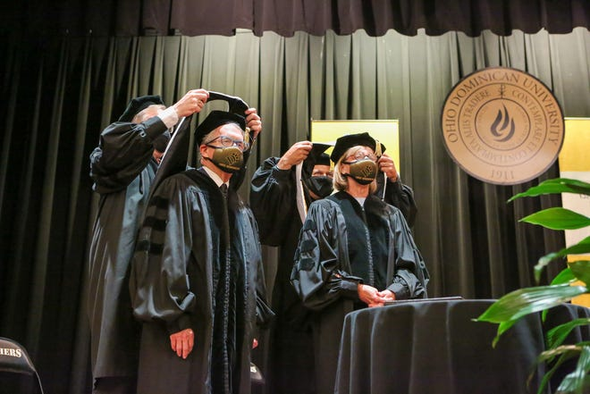 Ohio Gov. Mike DeWine and first lady Fran DeWine were awarded honorary degrees from Ohio Dominican University on Monday for their leadership during the COVID-19 pandemic.