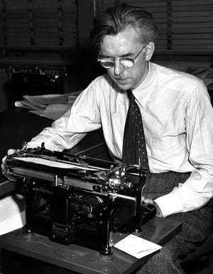Columbus native James Thurber, posing at his old desk at the Columbus Evening Dispatch in 1942, left the newspaper in 1924 to work in Paris and then New York.  Despite moving on, the writer frequently returned to his hometown to visit family, set some of his stories in Columbus and left his mark here for generations to come.