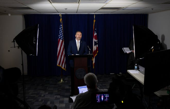 Ohio Attorney General Dave Yost announces a settlement of $88.3 million with Centene, a Fortune 25 health-care company, in his offices June 14 to resolve Yost's lawsuit alleging fraud.