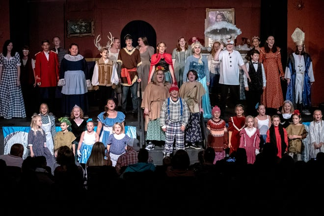 The cast of Frozen Jr.,  consisting of  47 area children, performs the final number of the Disney musical.