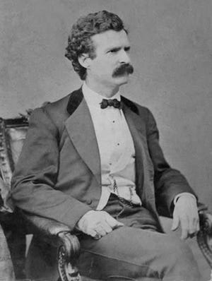 Mark Twain, as he appeared at about the time of his Monmouth lecture.
