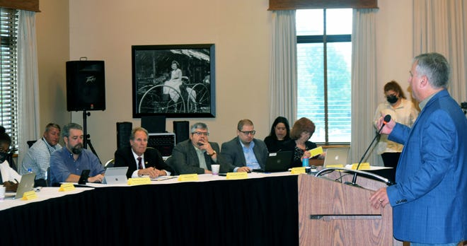 County Commissioner Mike Stieben speaks Friday to members of the redistricting committees of the Kansas Senate and House of Representatives. The committees conducted a town hall meeting in Leavenworth.