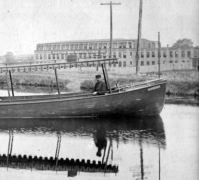 From the collection of the Perinton Historical Society, this photo, likely taken between 1891 and 1893. It's a view to the northwest across the Erie Canal, with the P. Cox Shoe factory on Parce Avenue in the background. The Wanderer, a steam-powered launch owned by D.L. Worden, is in the foreground.