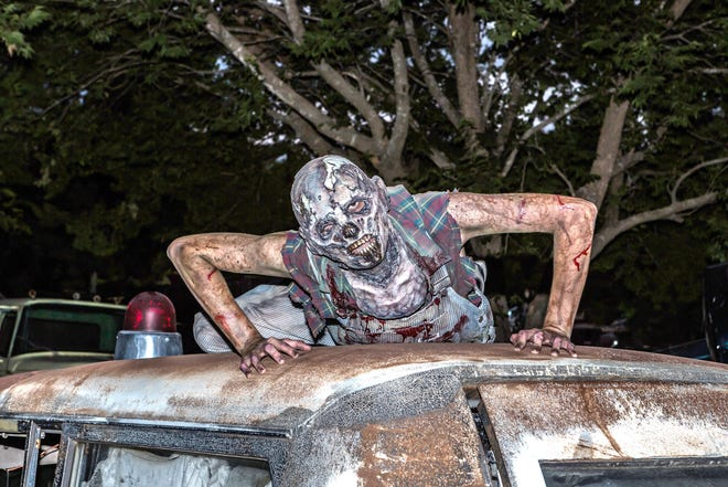 """""""Zombie Wasteland… Apocalypse"""" is one of five haunted house attractions at Screams Halloween Theme Park, which will open for its 25th season Oct. 1."""