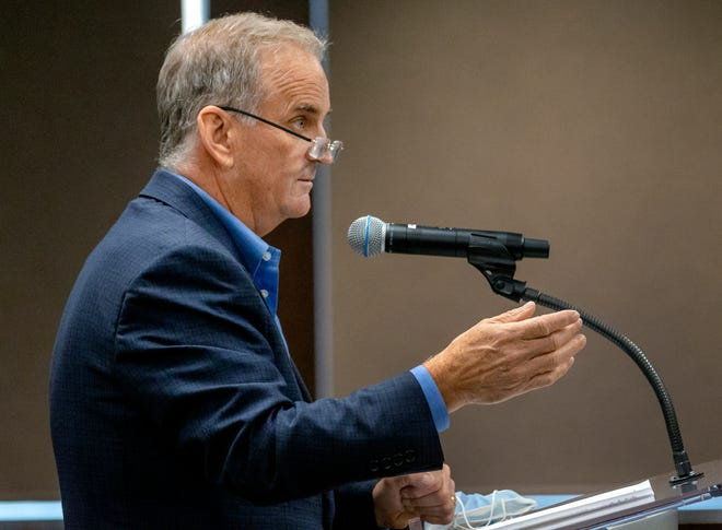 Sean Cummings makes a public comment at the start of the Oklahoma County Jail Trust meeting in August. Cummings also spoke during Monday's county commissioners meeting to offer suggestions for use of the county's more than $154 million in American Rescue Plan funds.