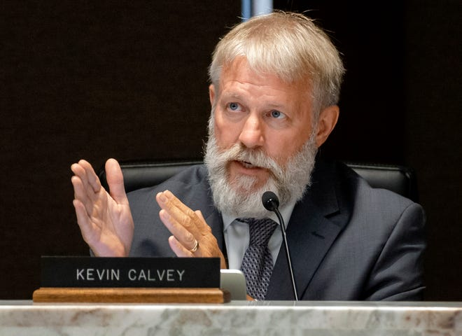 Oklahoma County Commissioner Kevin Calvey takes part in the Oklahoma County Jail Trust meeting on Aug. 16. Calvey moved to strike an item accepting the resignation of former Lt. Governor Todd Lamb from the trust and appointing his replacement.