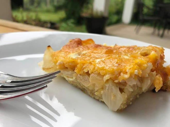 Cheesy onion pie.