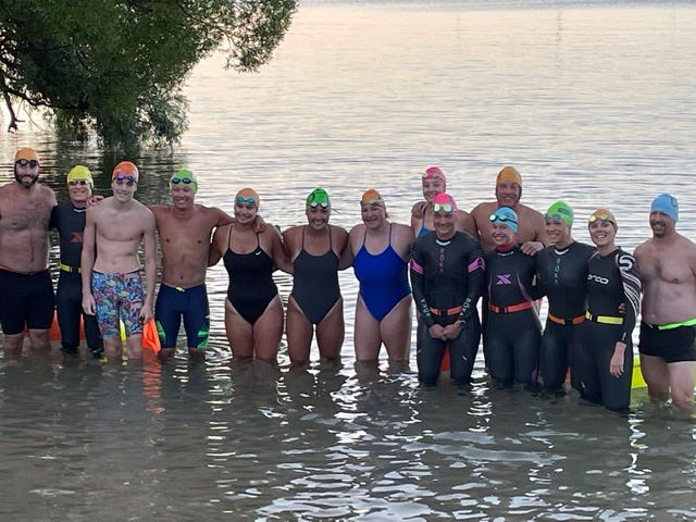 Local swimmers made the journey from Harbor Springs to Petoskey by way of Little Traverse Bay on Saturday. Swimmers included (from left): Alfie Zarate, Bob Bemben, William Cabana, Kobe Wilder, Alyssa Glasser, Alexis Glasser, Kylie Swiger, Laurel Campbell, Martha Janson,George Hallow, Jenna Kohler, Lynn Anne Crots, Crystal Dean, Jeff Stavenhagen.