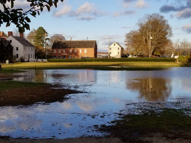 Strawbery Banke Museum experiences groundwater flooding, typical in Portsmouth's South End neighborhood.