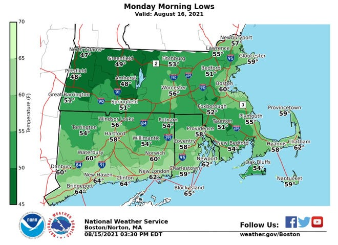 Temperatures dipped into the 50s overnight for much of Rhode Island, according to the National Weather Service.