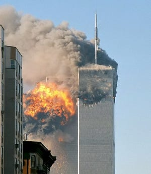 The north face of Two World Trade Center (south tower) immediately after being struck by United Airlines Flight 175