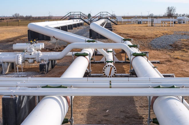 The Calista Compressor Station serves the Kansas Gas Service's network in Kansas. The utility has filed with the KCC to recover $451 million in natural gas purchase and carrying costs from this February's cold snap. (Kansas Gas Service)