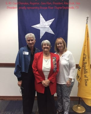 Pictured are Bosque River Chapter Registrar Carol Dismukes, Chapter President Jane Klein, and Chapter Vice President Dr. Rita Cook.