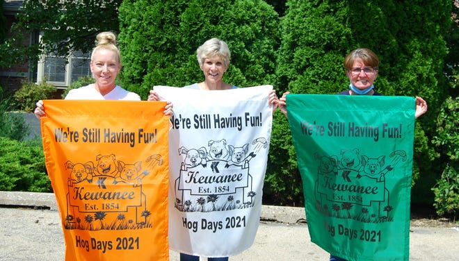 This year's Hog Days Banners are now available for $25.  They can be purchased at Kewanee Care Home and The Kewanee Chamber of Commerce now and at the Hog Days souvenir shop during Hog Days. Special thanks to Breedlove's for their continued help and support. From left: Teresa Morgan, administrator, Kewanee Care Home; Nana Verstrate, Kewanee Care Auxiliary; and Betty Mercer, activity director, Kewanee Care Home.