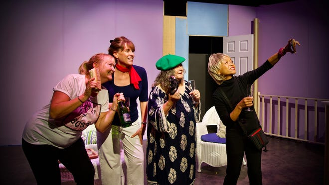 """From left, Felicia Potts, Carolyn Stringer, Deb Bowen and Mirla Criste star in """"The Savannah Sipping Society"""" at Thalian Hall's studio theater through Aug. 29."""