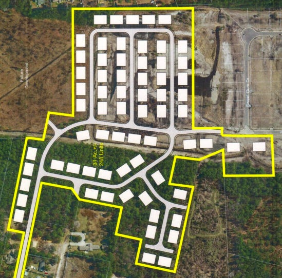 A townhome development that could include nearly 250 housing units has been proposed off Carolina Beach Road near Monkey Junction.