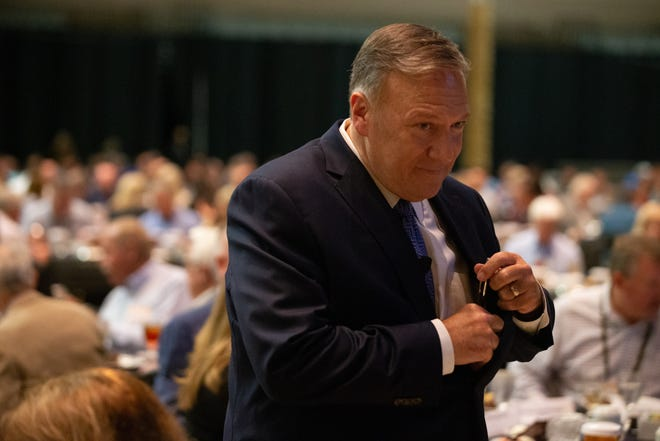 Former Secretary of State Mike Pompeo prepares to speak at Monday's Kansas Independent Oil & Gas Association annual convention in Wichita.