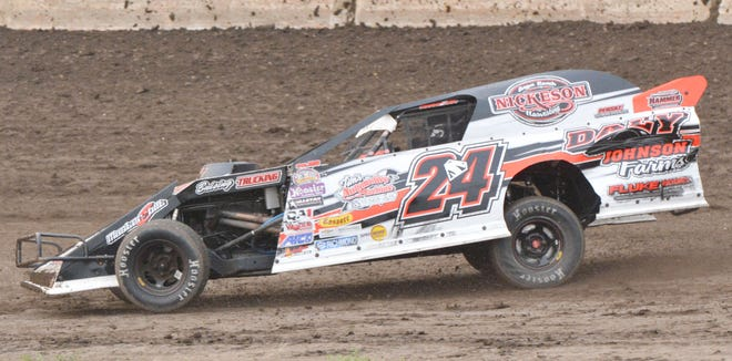 Hecla driver Mike Stearns, shown during a 2020 racing event at Casino Speedway, topped a field of 27 drivers to win the modified feature Sunday night during the Advantage RV Modified Tour Finals program.