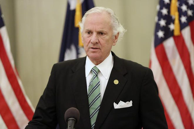 South Carolina Gov. Henry McMaster talks about the current state of the COVID-19 pandemic at a news conference on Monday, Aug. 9, 2021, in Columbia, S.C. McMaster continued to urge people to get the COVID-19 vaccine, but also repeated that whether students wear masks in class should be solely up to parents in a state where less than half the residents are fully vaccinated. (AP Photo/Jeffrey Collins)
