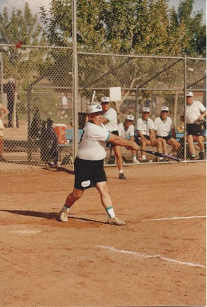 Bob Austin playing softball at Lions Field in Bremerton. As a player and coach Austin took teams to slowpitch teams to the state tournament 15 times during his decades of involvement.