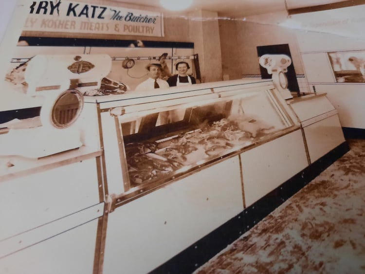 Harry and Eleanor Katz in the kosher meat and poultry butcher store they owned on Haddon Avenue in Camden. Katz also co-owned another shop in Cherry Hill that Muhammad Ali used to frequent when he lived in Cherry Hill in the 1970s. Katz's granddaughter Linda Shapiro Fox met Ali in there one day.
