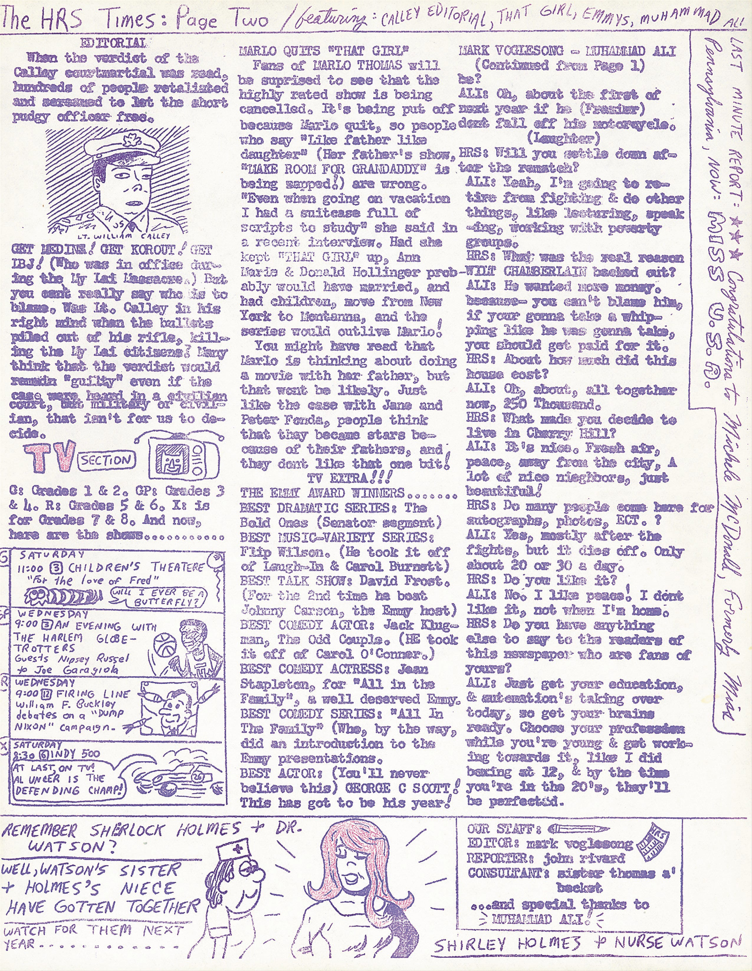 A copy of the interview Mark Voger did with the boxing champion Muhammad Ali for the Holy Rosary School Times in 1971. Voger, who later worked for newspapers for 40 years, went to Ali's Cherry Hill home along with his little brother and a friend and interviewed Ali.