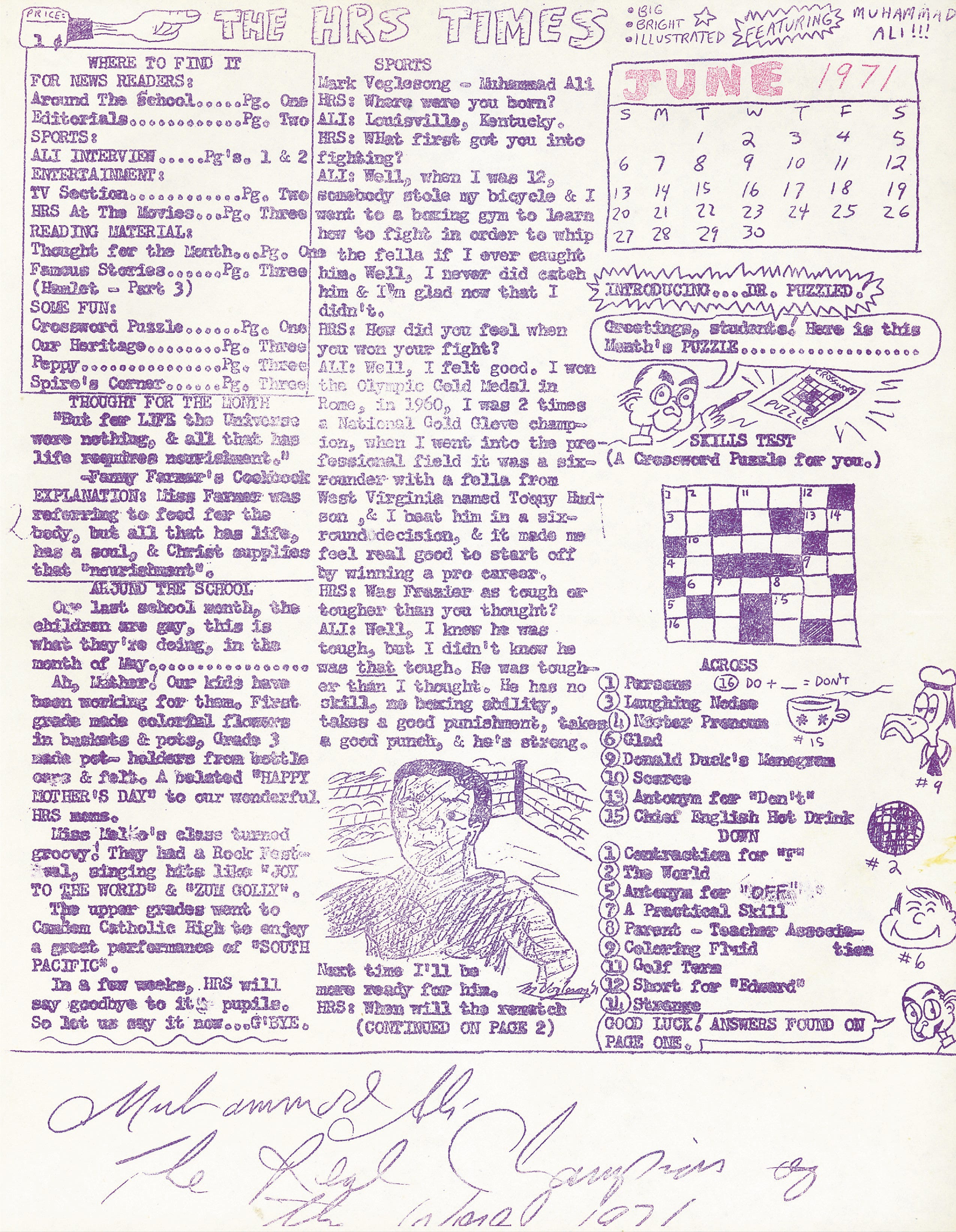 A copy of the interview Mark Voger did with the boxing champion Muhammad Ali for the Holy Rosary School Times in 1971. Voger interviewed Ali at his Cherry Hill home.
