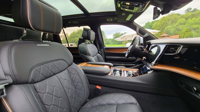 The 2022 Jeep Grand Wagoneer can be had with a panoramic sunroof.