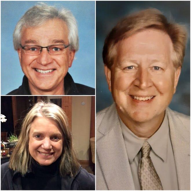 Kim Herro, bottom left, Dan Raasch, top left, and Rick Grothaus have all resigned from the Oconomowoc School Board.