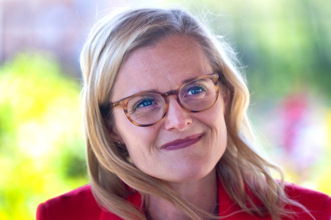 Sarah Godlewski speaks at a campaign appearance Monday, August 16, 2021 at Alice's Garden, 2136 N. 21st St. in Milwaukee, Wis. She is seeking the Democratic nomination for U.S Senate.