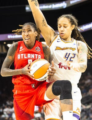 Phoenix Mercury center Brittney Griner (42) is one block away from 700 in her WNBA career. The Mercury are home against Indiana on Tuesday.