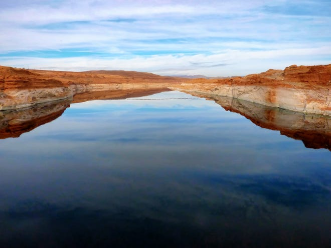The already-dropping level of the Colorado River photographed in 2010.