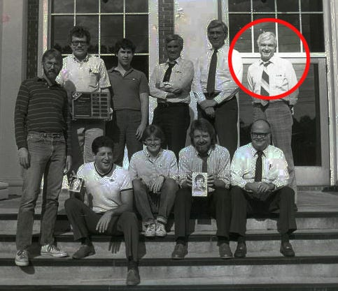 Members of the Democrat's staff in 1983. From left: (standing) Buddy Pinkston, Tommy Carnes, Nathan Huang, Bill Fuller, Carrol Dadisman, Bob Stiff (highlighted); (seated) George Maselli, Jeanie Roberts, Gerald Ensley, Bill McGrotha