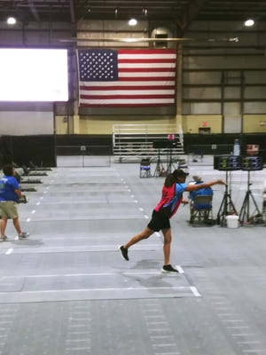 Diane Luiz competes at the 2021 National Horseshoe Pitchers Association World Tournament in Winnemucca, Nevada.