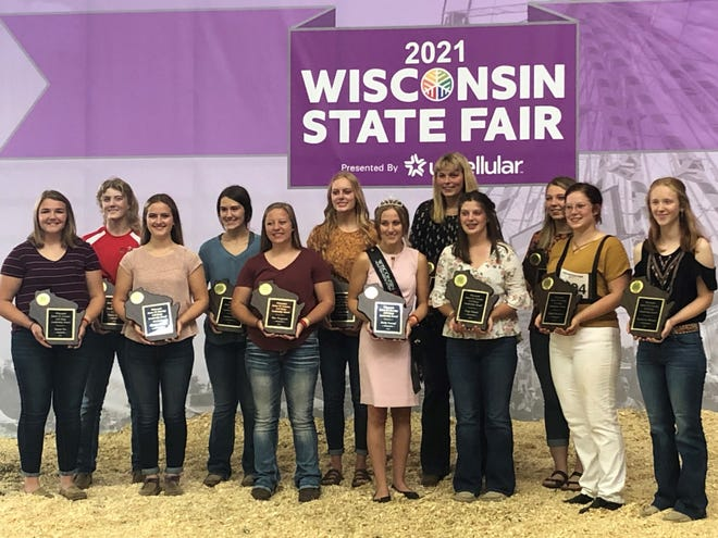 Winners of the 2021 Crowley Awards are from left, Emma Vos of Maribel, Gracie Ziegler of Appleton, Clarissa Ulness of Valders, Justyne Frisle of Prairie Farm, Erin Torgerson of Viroqua, Jenna Gries of Manitowoc, Emily Stumpf of Appleton, Lora Korth of New London, Paige Sweatt of Dane, Courtney Glenna of Amery, Haley Beukema of New Richmond, Katherine Elwood of Amery. Not pictured, Henry Huth of Cameron and Maria Zillges of Larsen.