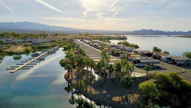 Seek refuge from the hot Arizona sun at the lakeside Islander Resort in Havasu City.