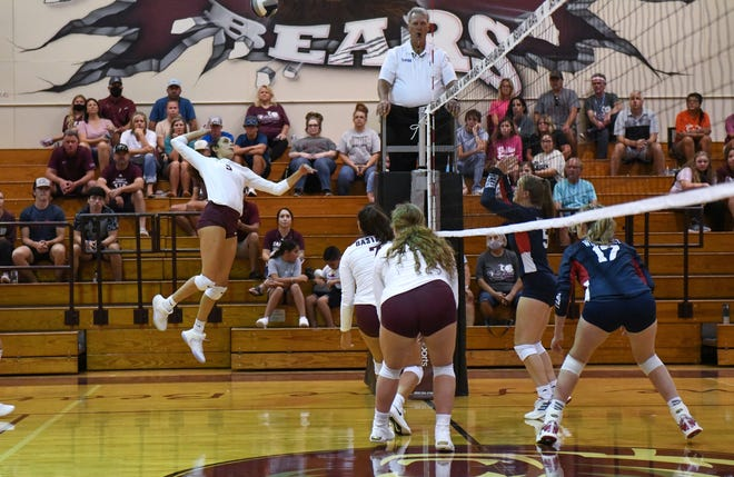 Bastrop's Crystal Creek (5) takes to the air to complete a kill. The Bears rallied to win their final three matches at this past weekend's Westwood Volleyball Tournament.