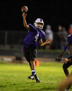 Florence's Victor Bonilla passes to a receiver during a matchup with Bangs in 2020. The team's quarterback last year, Bonilla will be moved around the field on offense this season.