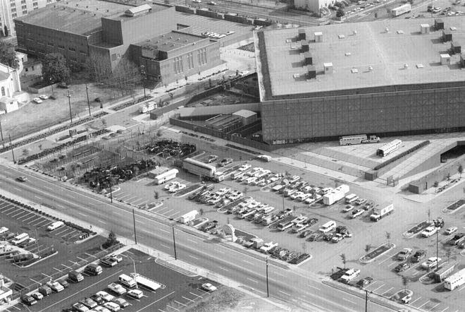 An aerial photo shows the then Augusta-Richmond County Civic Center in Augusta, Ga., in the early 1980s.