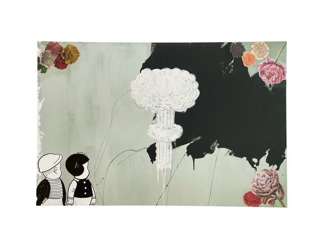 """""""Mushroom Flower"""" (acrylic latex paint, ink, pencil and collage on canvas, 72"""" x 48"""" x 2.5"""") by Patrick McDonnell"""